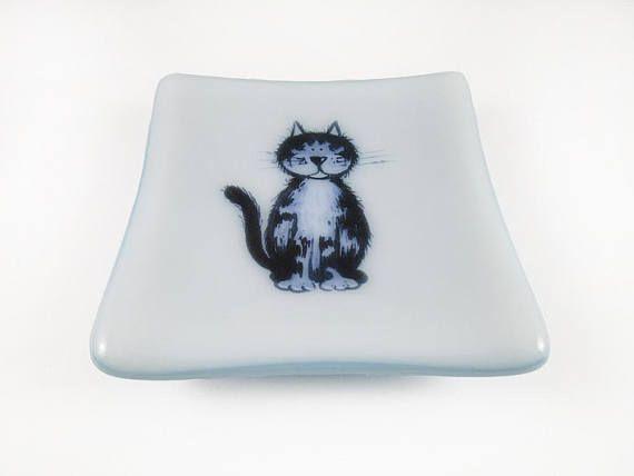 Trinket Dish Ring Dish Cat Dish Fused Glass Dish Soap Dish