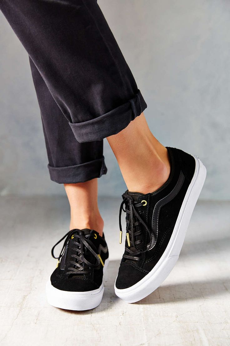 All black + gold | Vans Suede 36 Slim Women's Low-Top Sneaker