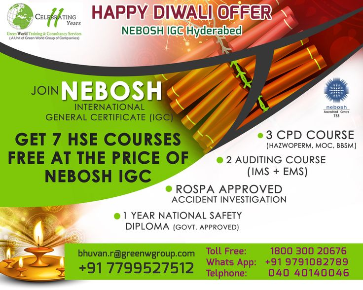 Green World Group Provide Diwali OFFER For NEBOSH IGC In Ahmedabad To Get 7 HSE Courses FREE At The Price Of Valid Till 07th OCT 2017