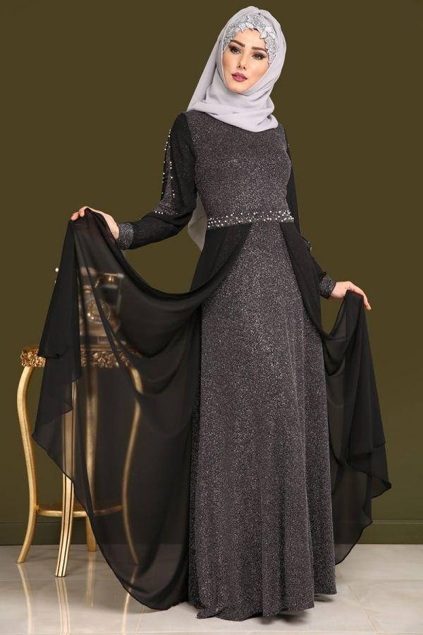 Yeni Urun Sifon Kuyruklu Simli Abiye Siyah Urun Kodu Rz6262 159 90 Tl Aksamustu Giysileri Kiyafet Kadin Giyim