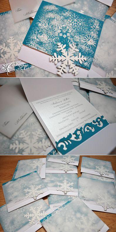 Handmade by Meda: Winter Wonderland Wedding Invitations (Invitatii Iarna ca-n povesti)
