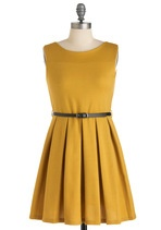 """Similar to the other dress but officially """"mustard"""" by ModCloth's description...might be a bit darker than the color swatch Nat pinned"""
