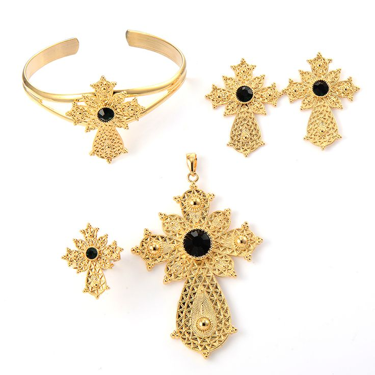 Womens Cross Ethiopian Jewelry Earrings Ring Cuff Bracelet Pendant Set African Africa Bridal Wedding Engagement 24K Gold Color