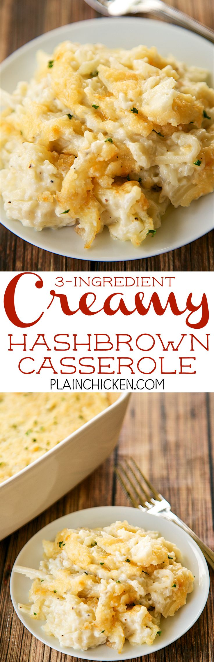 3 Ingredient Creamy Hashbrown Casserole - NO cream of anything soup!! Frozen hashbrowns, heavy cream and parmesan cheese. We like to add garlic too!! SO easy to make and they taste amazing. No prep work! A new favorite in our house. Also great for a dinner party.