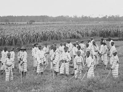Equal Justice Initiative -- history of racial injustice highlight | CONVICT LEASING   Black orphaned children and juvenile offenders could be bought to serve as laborers for white planters in many Southern states from 1865 until the 1940s. (Library of Congress, Prints & Photographs Division, Detroit Publishing Company Collection, LC-D428-850)