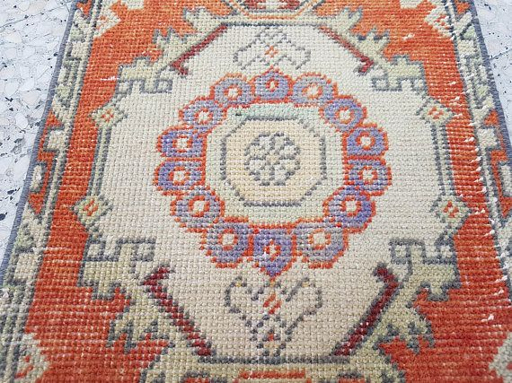 Small Persian Overdyed Rug for Bathroom Bohemian Oriental