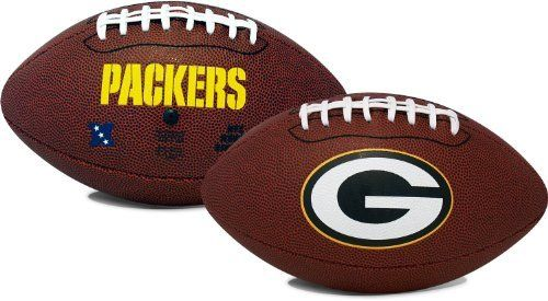 NFL Green Bay Packers Game Time Football by K2 LP. $25.99. Full size football. Officially licensed NFL merchandise. Durable pebble and classic on-field football. Ready to be thrown at the next BBQ or street game. The Full Size NFL® Game playable pebble football from K2® is ready to be thrown at the next tailgate or backyard game. This officially licensed football is designed with the logo on the front, and team name on the front and back.