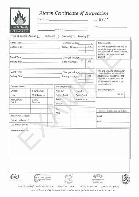 Certificate Of Inspection Template Inspirational Fire ...