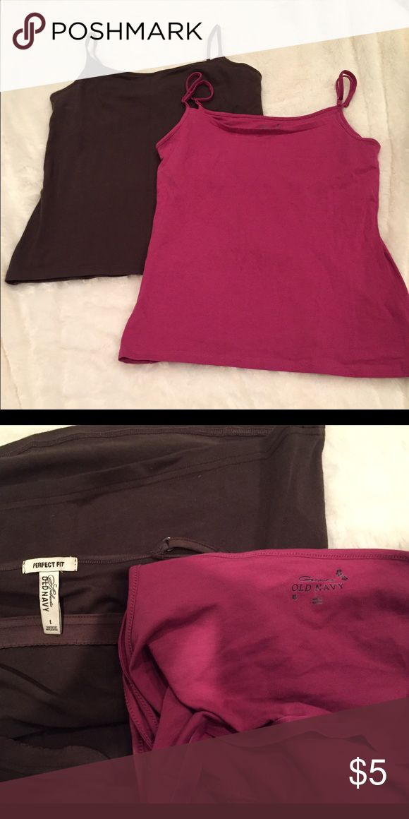 Old Navy Shelf-Bra Camisoles One in brown and one in mauve/dusty rose. Both like new. Both Larges. Old Navy Tops Camisoles