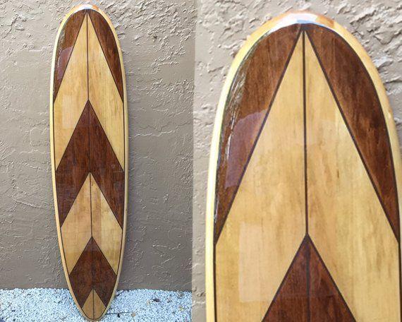 Tropical Decorative Wood Surfboard Wall Art for a Coastal Beach Home Decor