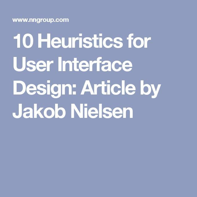 Heuristic evaluation of user interfaces