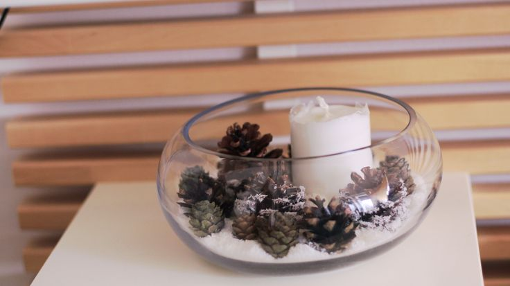 Magic christmas candle with coconut and cone.