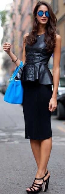 Leather peplum street style ♥✤ | Keep the Glamour | BeStayBeautiful...Hat the glasses but everything else is fabulous