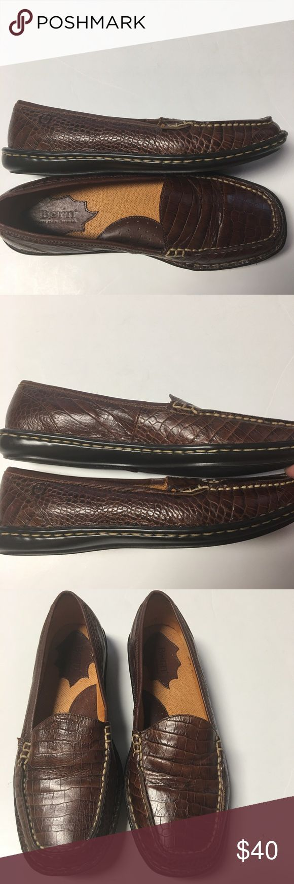 Born Brown Leather Loafer Slip Ons Animal print leather in a loafer style slip on. Interior arch support. Other than a small skiff on the sole at the back heel, these look entirely unworn. In outstanding condition. These are tagged as a size 8/39, which varies slightly from this Posh sizing. These are closer to an 8 than a 39(9), imo. If you are familiar with your own sizing in Børn shoes, you'll likely know for yourself as well. Born Shoes Flats & Loafers