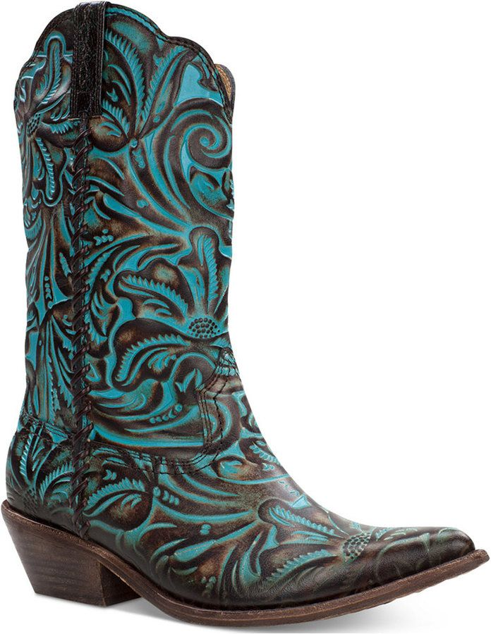 1a71b9ecc86 Patricia Nash Bergamo Turquoise Tooled Western Mid-Shaft Boots ...