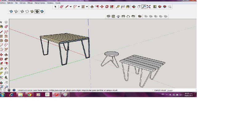 Mesas madera y hierro