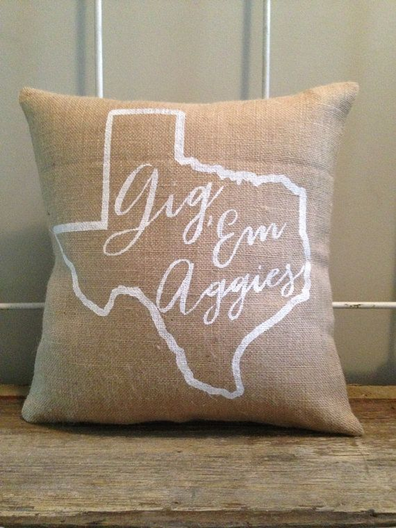 Burlap Pillow Gig Em' Aggies pillow Texas A & by TwoPeachesDesign White burlap with charcoal grey lettering