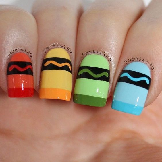 crayons | DIY Back to School Nails for Kids