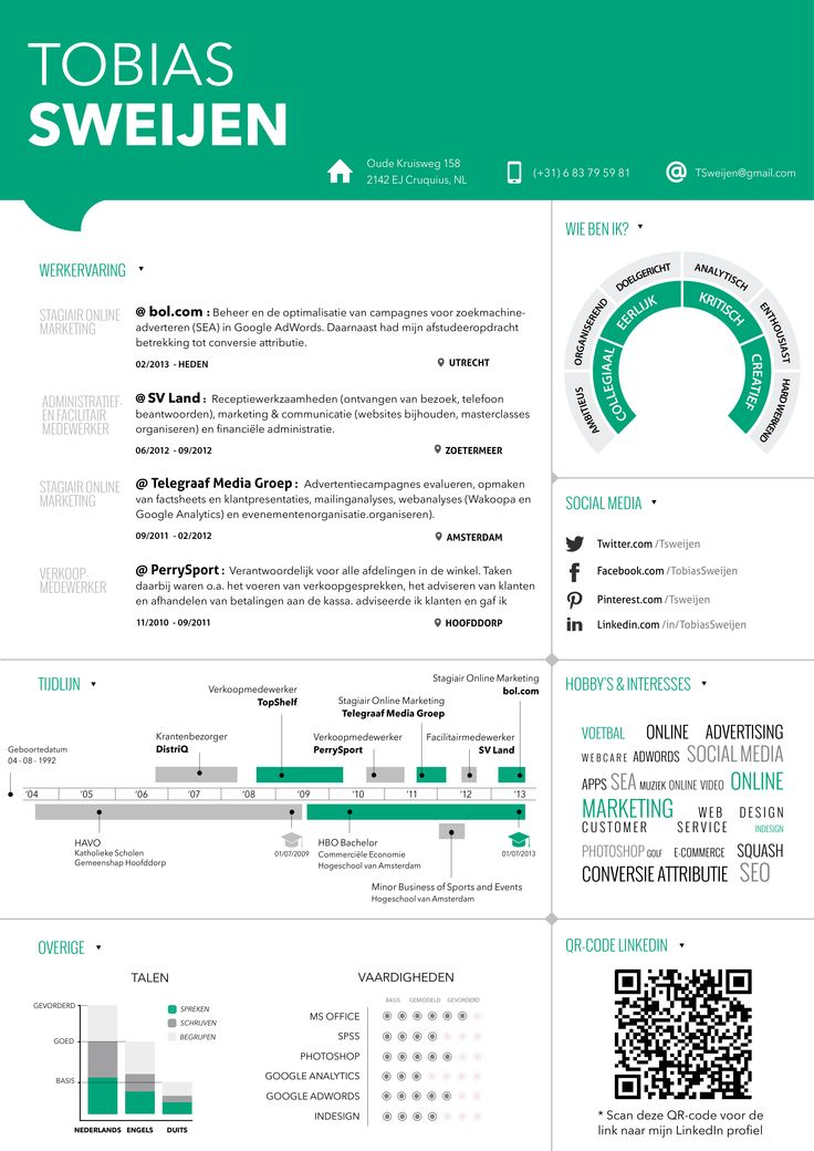 Nieuw CV Thema ! #CV #Resume #Infographic #CVDesign #Curriculum #Vitae