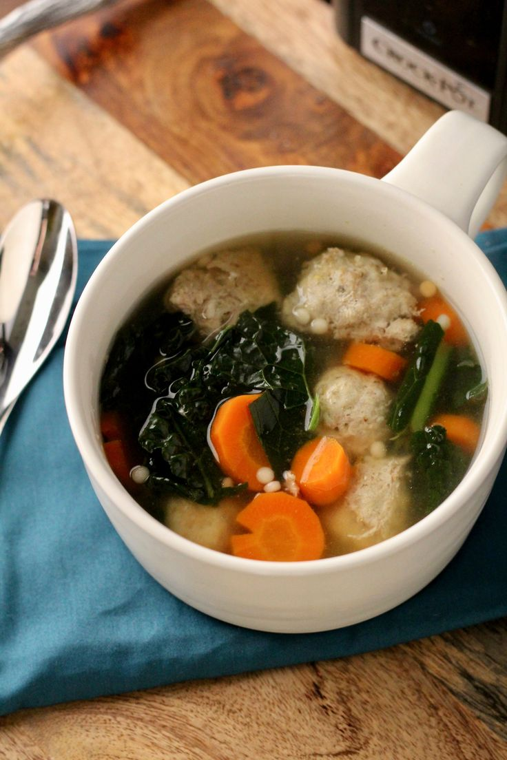 Healthier Italian Wedding Soup (Crockpot Recipe