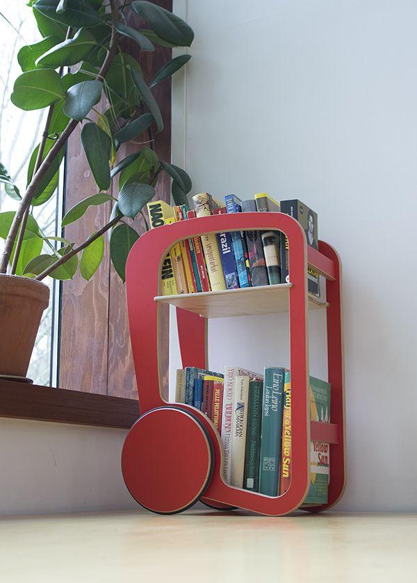 Red Fleimio Mini Trolley with good books.