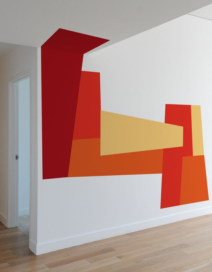 Color Block Slant wall decals by Mina Javid use color and crisp geometry to change the perception of your space. Dramatically change a space and transform the feeling of a room through the use of bold