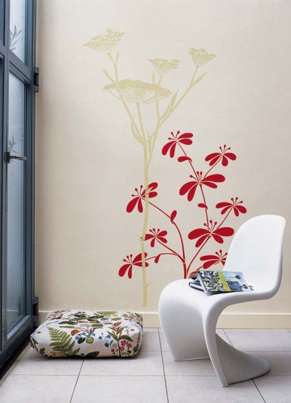 modern stencil designs for walls   ... with Beautiful Floral Wall Stencils Idea   Modern Home Design Gallery