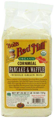 Bob's Red Mill Organic Cornmeal, Pancake & Waffle, Whole Grain Mix, 26-Ounce Bags (Pack of 4) - http://goodvibeorganics.com/bobs-red-mill-organic-cornmeal-pancake-waffle-whole-grain-mix-26-ounce-bags-pack-of-4/