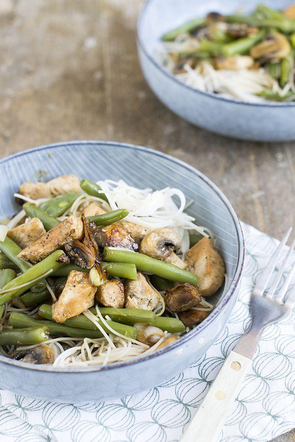Mihoen met kip en sperziebonen | Makkelijke maaltijd | via brendakookt.nl