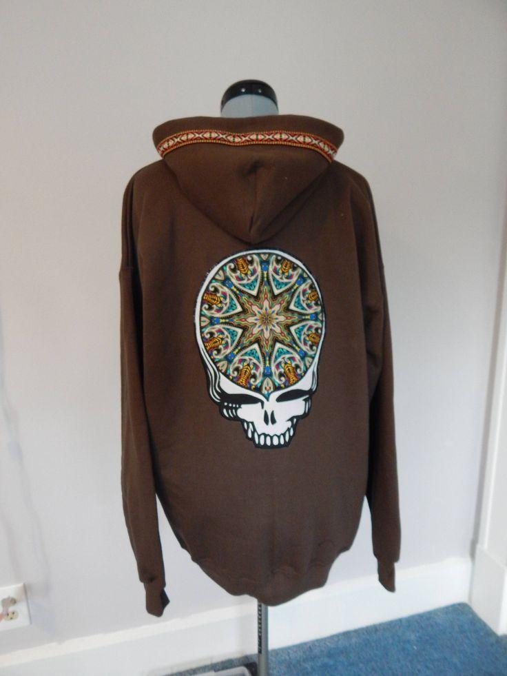 Mens Hoodie, Grateful Dead Stealie Full Zip Hoodie, Size L Large Hoodie, Guys Hoodie, Festival Clothes, sweatshirt, by attickpatchwork on Etsy https://www.etsy.com/listing/533035578/mens-hoodie-grateful-dead-stealie-full