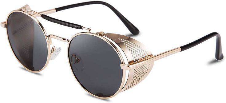 Feisedy steam punk sunglasses for men women side shield
