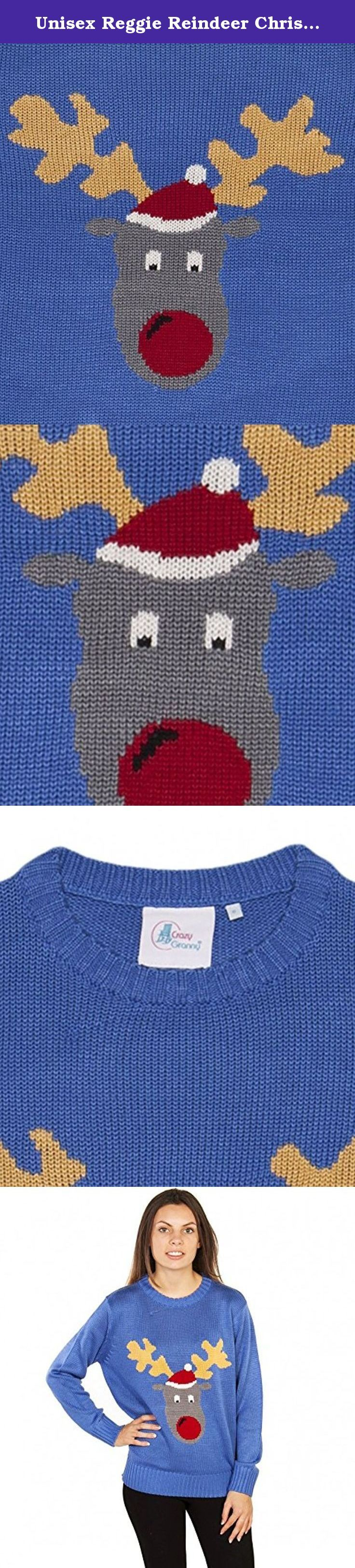 Unisex Reggie Reindeer Christmas Jumper from Crazy Granny Clothing. - Unisex Reggie Reindeer Christmas Jumper from Crazy Granny Clothing - Knitted unisex jumper - Made from 85% acrylic, 15% wool - Machine washable - Complete with branded metal tag - Please check our custom size chart for your perfect fit . Just like granny makes, the famous Reggie Reindeer jumper (as seen on TV's This Morning, Take Me Out and tons more shows) is the stereotypical cheesy Christmas sweater! Perfect for your...