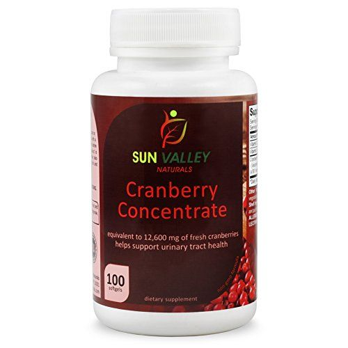 Sun Valley Naturals Cranberry Concentrate 12,600 Mg of Fresh Cranberries 100 Softgels  With the equivalence of 12,600mg of fresh cranberries. The antioxidant power is highly concentrated proanthocyanidins, you're giving your body all the cranberry you need to help keep away and fight painful urinary tract infections.  The positive effects of cranberries on your urinary tract and kidneys have been well known for years, but no more drinking bottles of cranberry juice for you! The amount ...