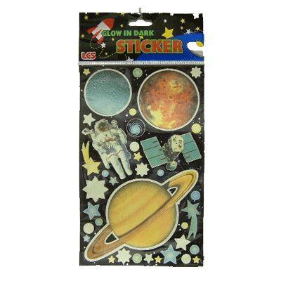 Sterren planeten stickers - Feestartikelen shop.  Glow in the dark stickers van planeten. Sterren, planeten en een astronaut in verschillende maten en kleuren