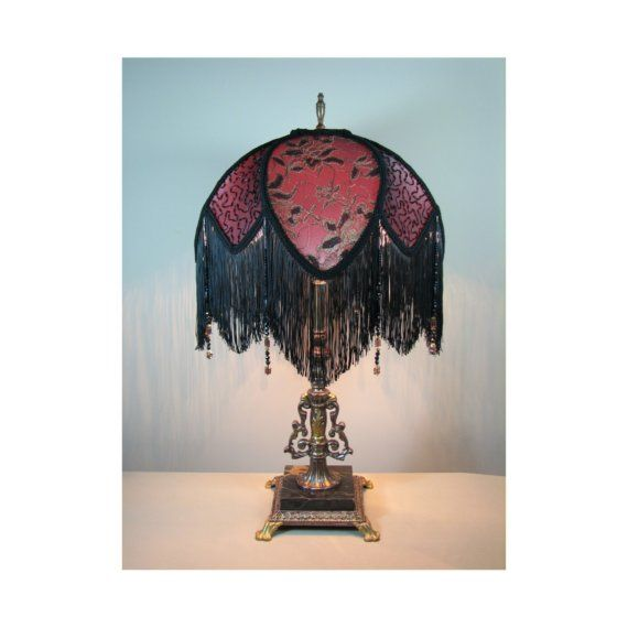 Vintage Table Lamp with Victorian Lamp Shade by shadezofmichelle on etsy