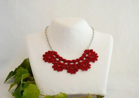 Red necklace for women Red bib necklace Thread necklace Red