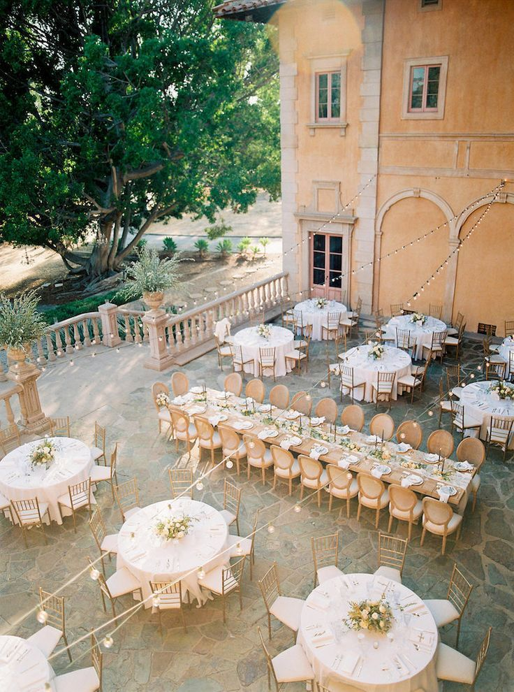 long table setup wedding reception%0A Elegant Outdoor Villa Wedding Reception with a mix of round and long tables