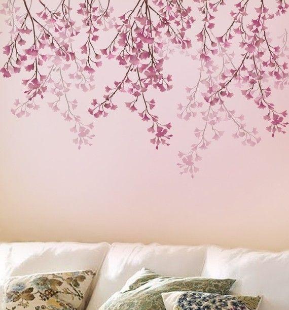 Plantilla para paredes cerezo llorón reutilizable plantillas