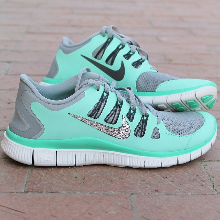 low cost 87325 6ebb7 Women s Nike Free 5.0 w  Swarovski Rhinestones - Green Glow   Wanted    Pinterest   Nike Free, Women Nike and Swarovski