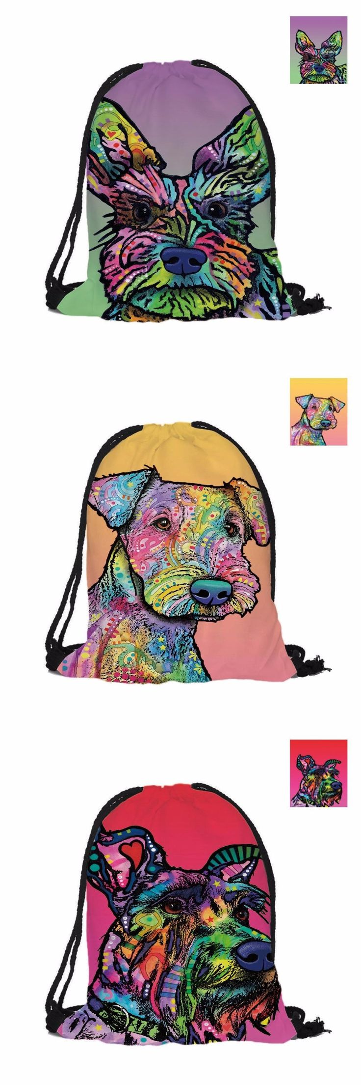 [Visit to Buy] Cute Schnauzer Custom Fashion 3D Printing Double Sides Men Women School Bag For Travel Drawstring Backpack Polyester texture #Advertisement