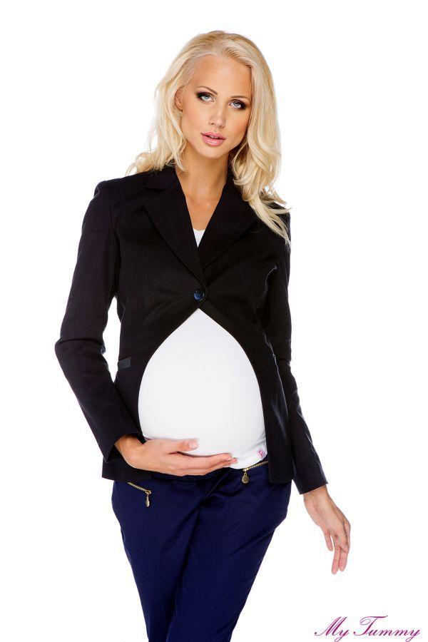 Granatowa marynarka ciążowa. Idealna do noszenia po ciąży!