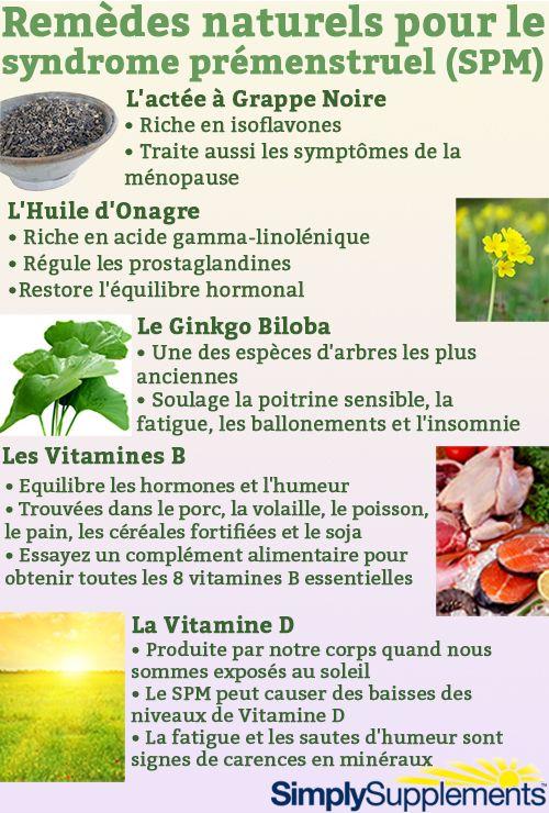 Remèdes naturels pour soulager les symptômes du syndrome prémenstruel.