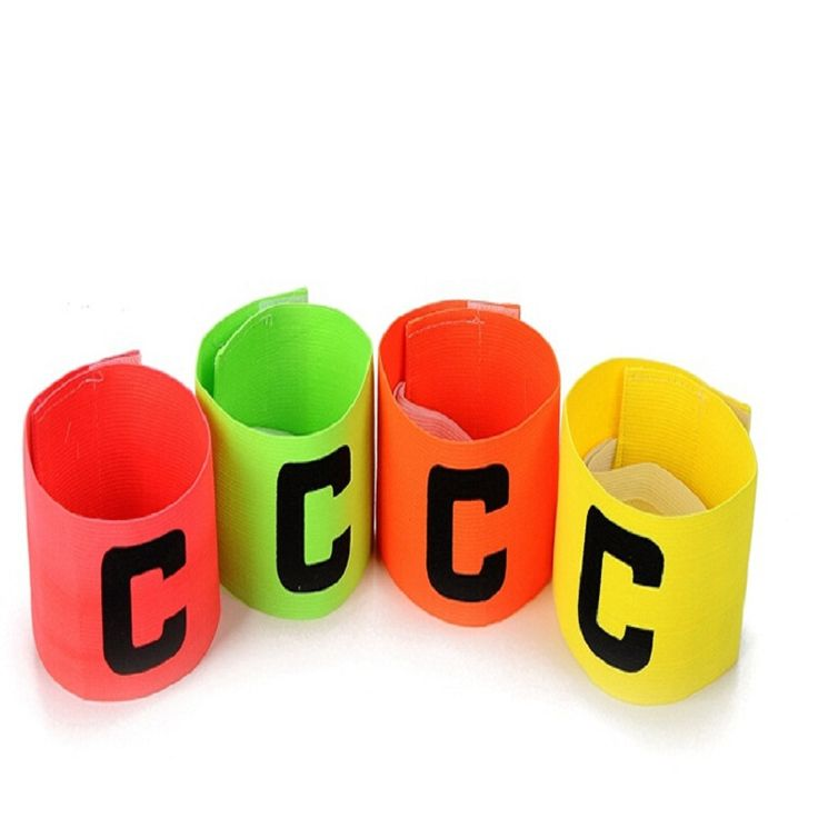 New arrival Football Soccer Flexible Sports Adjustable Player Bands Fluorescent Captain Armband 4 colors