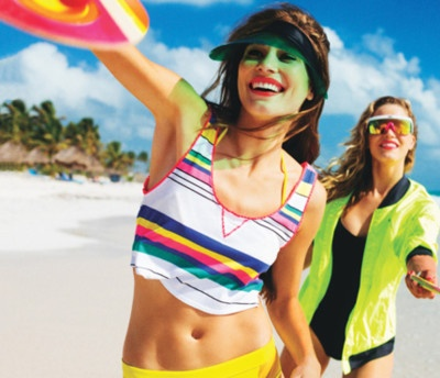Neon bright bold swimwear, accessories, and beach style