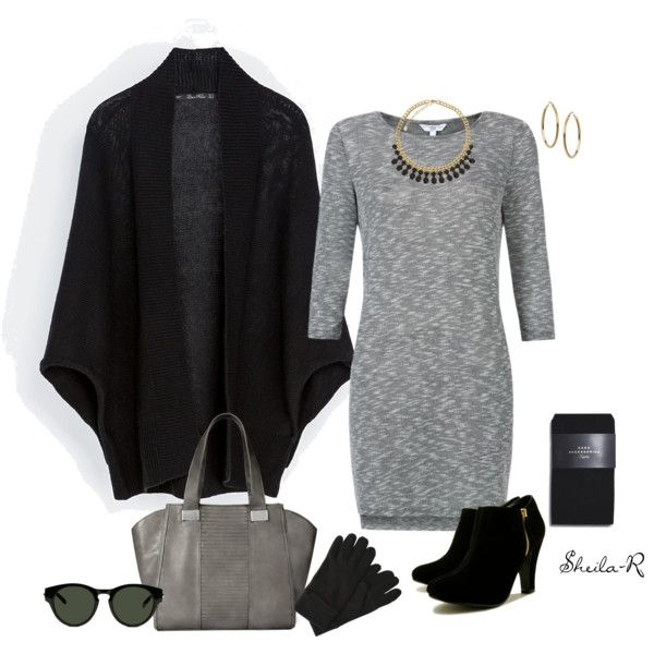 """""""Simple Winter Work Outfit-Over 40 Fashion"""" by sheila-r on Polyvore SWEATER DRESS, TIGHTS, ANKLE BOOTIES"""