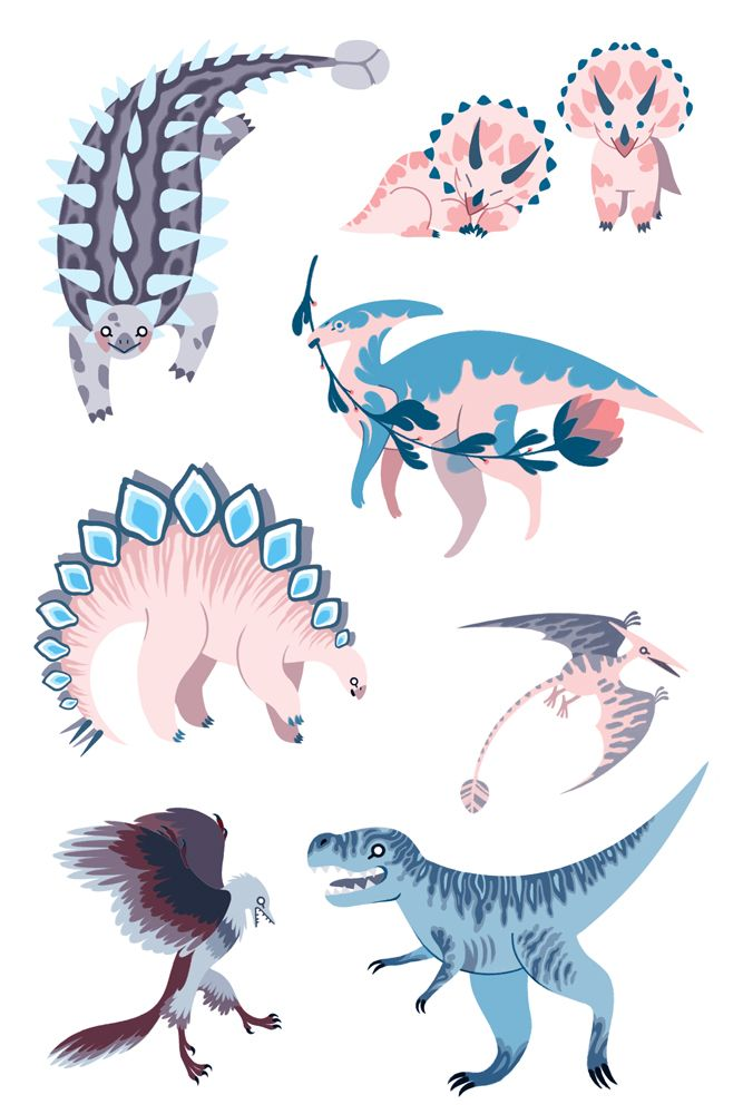 Rachel Suggs Illustration — Some dino stickers I made to sell at CALA and...