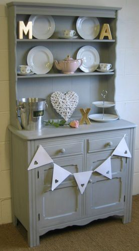 Shabby Chic French Style Kitchen Dining Room Dresser In Annie Sloan Paris Grey