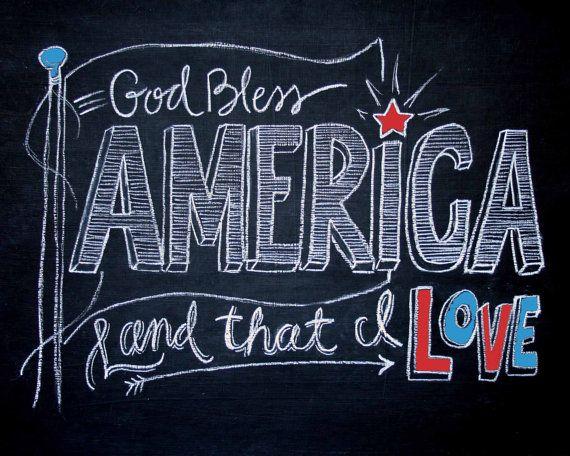 Hand Lettered Chalkboard Print God Bless by TheBlackandWhiteShop