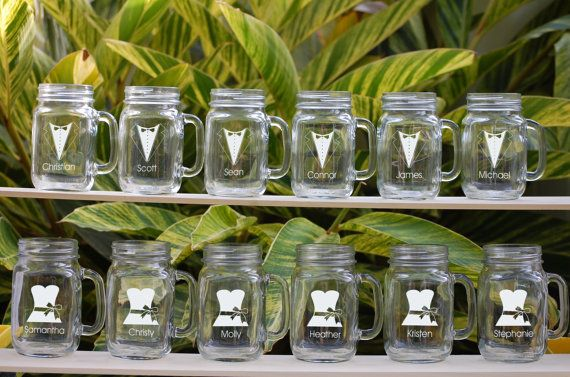 12 Personalized Beer Mug, Engraved Mason Jar Glasses with Handle, Wedding Party Gifts, Groomsmen Tuxedo, Bridesmaids Dress, Glassware via Etsy