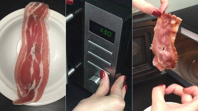 Can you make crispy bacon in three minutes in the MICROWAVE? MailOnline's Femail team put the recipe to the test.